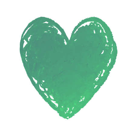 Vector colorful illustration of heart shape drawn with green colored chalk pastels. Elements for design greeting card, poster, banner, Social Media post, invitation, sale, brochure, other graphic design Illusztráció