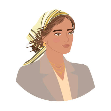 Vector colorful illustration of fashion girl hairstyle isolated on white background. Stock Illustratie