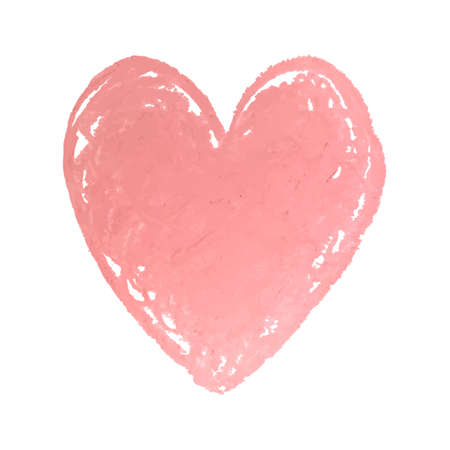 Vector colorful illustration of heart shape drawn with pink colored chalk pastels. Elements for design greeting card, poster, banner, Social Media post, invitation, sale, brochure, other graphic design  イラスト・ベクター素材