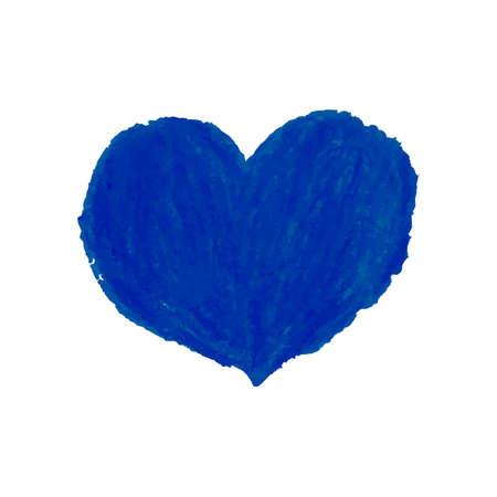 Vector colorful illustration of heart shape drawn with blue colored chalk pastels. Elements for design greeting card, poster, banner, Social Media post, invitation, sale, brochure, other graphic design