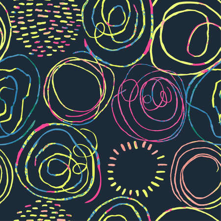 Vector modern seamless background with colorful hand drawn abstract round elements, doodles. Use it for wallpaper, textile print, pattern fills, web, texture, wrapping paper, design presentation