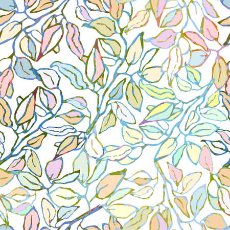 Vector seamless background with colorful watercolor illustration of foliage and plants. Can be used for wallpaper, pattern fills, web page, surface textures, textile print, wrapping paper