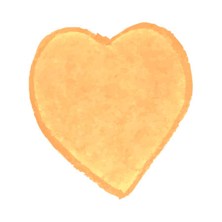 Vector colorful illustration of heart shape drawn with yellow colored chalk pastels. Elements for design greeting card, poster, banner, Social Media post, invitation, sale, brochure, other graphic design