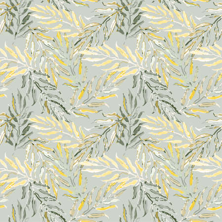 Vector seamless pattern with colorful illustration of tropical palm leaves.