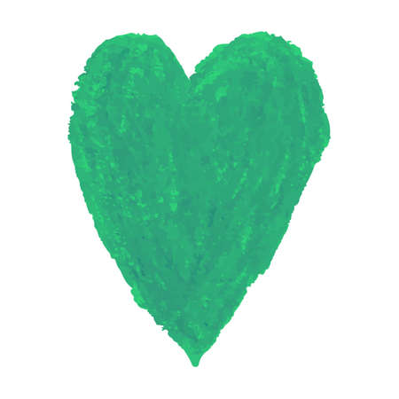 Vector colorful illustration of heart shape drawn with green colored chalk pastels. Elements for design greeting card, poster, banner, Social Media post, invitation, sale, brochure, other graphic design  イラスト・ベクター素材