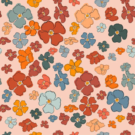 Vector seamless pattern with colorful illustration of beautiful flowers.