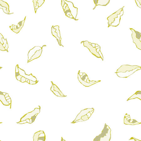 Vector seamless background with colorful watercolor illustration of foliage and plants.