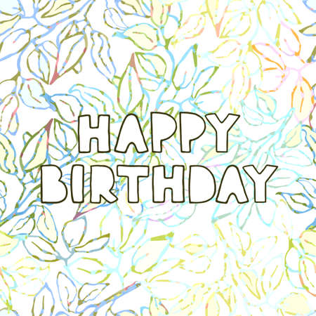 Vector floral greeting card with hand drawn lettering - Happy birthday 向量圖像