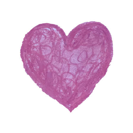 Vector colorful illustration of heart shape drawn with pink colored chalk pastels.