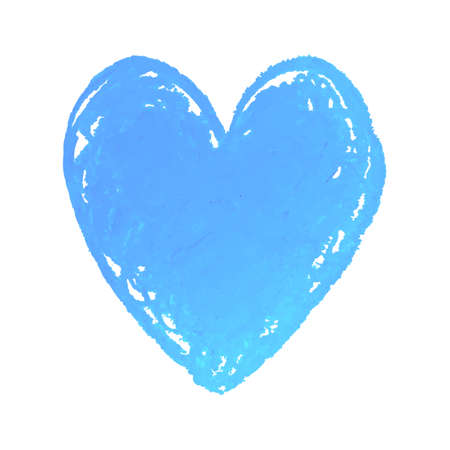 Vector colorful illustration of heart shape drawn with blue colored chalk pastel. Elements for design greeting card, poster, banner, Social Media post, invitation, sale, brochure, other graphic design