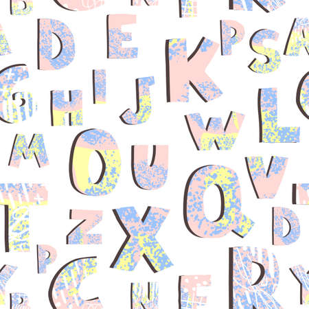 Vector seamless pattern with colorful letters on white background. Alphabet. Can be used for wallpaper, pattern fills, web page, surface textures, textile print, wrapping paper, design presentation