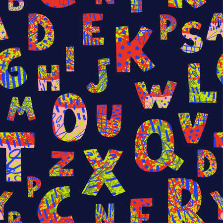 Vector seamless pattern with colorful letters on dark background. Alphabet. Can be used for wallpaper, pattern fills, web page, surface textures, textile print, wrapping paper, design presentation Ilustração