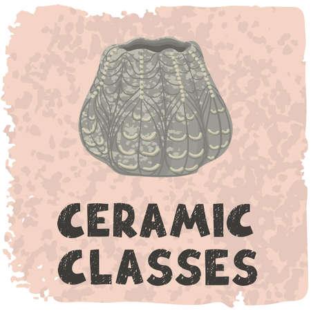 Vector colorful illustration of ceramic vase. Ceramic classes. Use as element for design print advertising, poster, banner, Social Media post, invitation, graphic design Imagens - 164339943