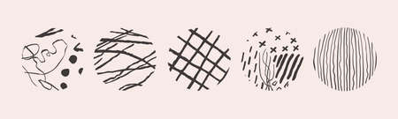 Vector hand drawn set with round isolated abstract black patterns or backgrounds. Various doodle shapes for highlight covers, posters, social media Icons templates.