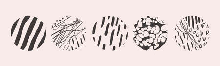 Vector hand drawn set with round isolated abstract black patterns or backgrounds. Various doodle shapes for highlight covers, posters, social media Icons templates. Imagens - 164339947