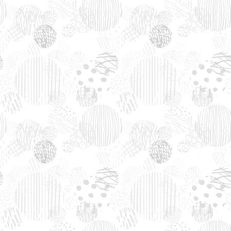 Vector modern gray seamless background with hand drawn abstract round elements, doodles. Use it for wallpaper, textile print, pattern fill, web, texture, wrapping paper, design presentation