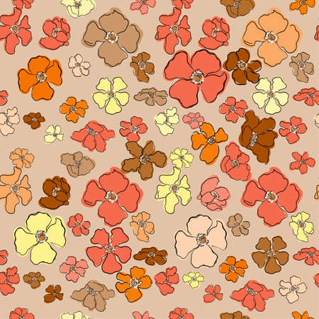 Vector seamless pattern with colorful illustration of beautiful flowers. For wallpaper, textile print, pattern fills, web page, surface textures, wrapping paper, design of presentation, graphic design