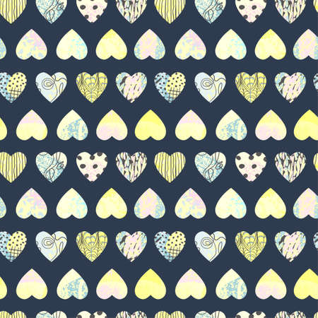 Vector seamless background with colorful heart shape. Use it for wallpaper, textile print, pattern fills, web page, surface textures, wrapping paper, design of presentation and other graphic design Ilustração