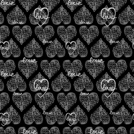 Vector seamless background with gray heart shape. Use it for wallpaper, textile print, pattern fills, web page, surface textures, wrapping paper, design of presentation and other graphic design Ilustração
