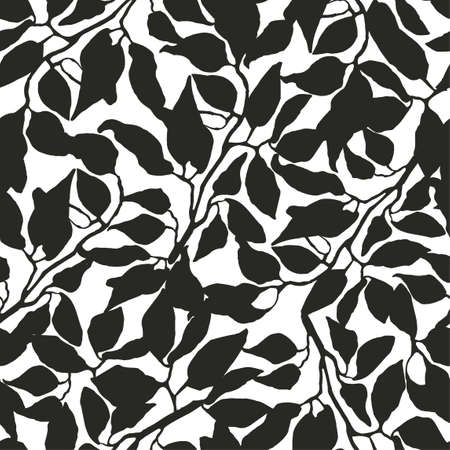 Vector seamless background with black and white illustration of foliage and plants. Can be used for wallpaper, pattern fills, web page, surface textures, textile print, wrapping paper