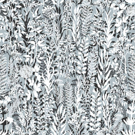 Vector seamless background with black and white illustration of herbs, plants and flowers. Can be used for wallpaper, pattern fills, web page, surface textures, textile print, wrapping paper