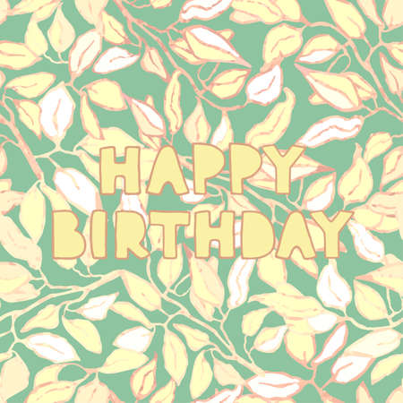 Vector floral greeting card with hand drawn lettering - Happy birthday Ilustração