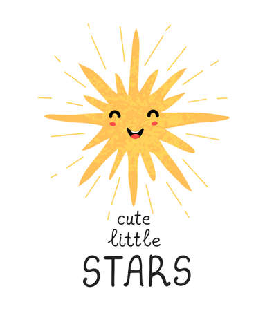 Vector illustration with hand drawn lettering - Cute little star. Colorful typography design for postcard, banner, t-shirt print, invitation, greeting card, poster Ilustração