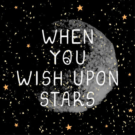 Vector illustration with hand drawn lettering - Wish upon stars. Colorful typography design in Scandinavian style for postcard, banner, t-shirt print, invitation, greeting card, poster Ilustração