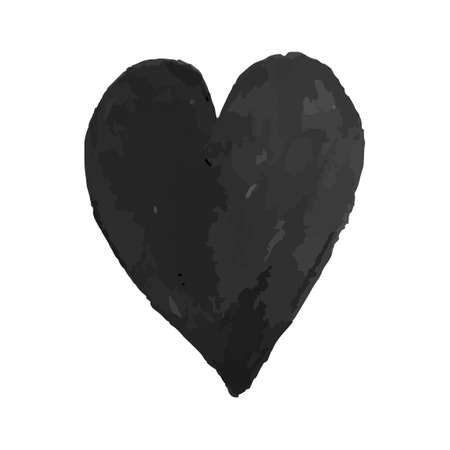 Vector colorful illustration of heart shape drawn with black colored chalk pastel. Element for design greeting card, poster, banner, Social Media post, invitation, sale, brochure, other graphic design