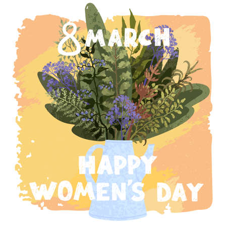 Vector colorful cute illustration of spring bouquet. Happy Womens Day March 8. Use it as greeting card, poster, banner, Social Media post, sale, brochure and other graphic design