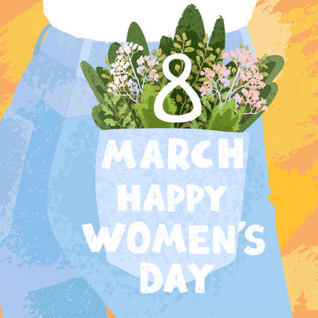 Vector colorful cute illustration of spring bouquet in denim pocket. Happy Womens Day March 8. Use it as greeting card, poster, banner, Social Media post, sale, brochure and other graphic design Ilustração