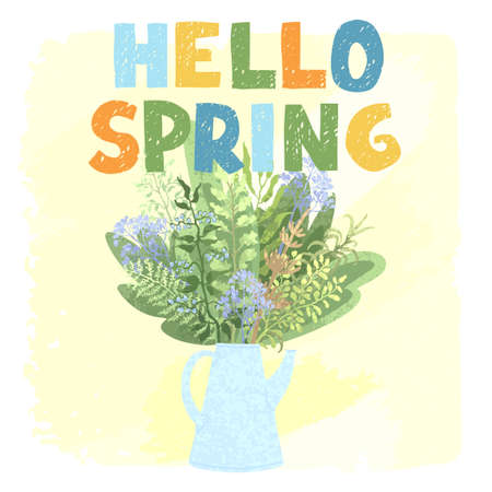 Vector colorful greeting card with illustration of bouquet in a teapot and hand drawn lettering Hello spring. Typography design for postcard, banner, t-shirt print, invitation, greeting card, poster