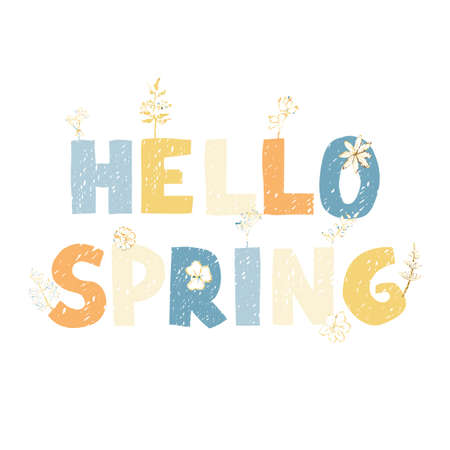 Vector colorful greeting card with hand drawn lettering Hello spring. Typography design for postcard, banner, print, invitation, greeting card, poster