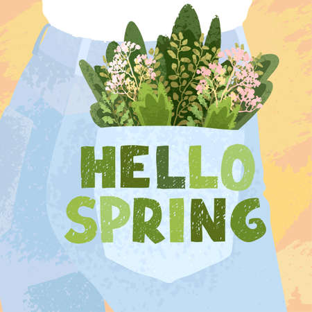 Vector colorful greeting card with illustration of bouquet in the back pocket and hand drawn lettering Hello spring. Typography design for postcard, banner, print, invitation, greeting card, poster
