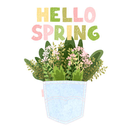 Vector colorful greeting card with illustratioon of bouquet in the back pocket and hand drawn lettering Hello spring. Typography design for postcard, banner, print, invitation, greeting card, poster