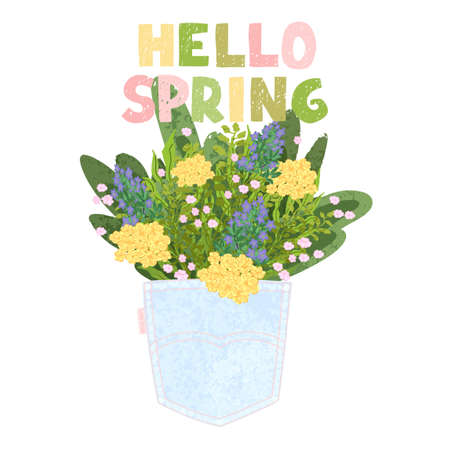 Vector colorful greeting card with illustratioon of bouquet in the back pocket and hand drawn lettering Hello spring. Typography design for postcard, banner, print, invitation, greeting card, poster Imagens - 164493891