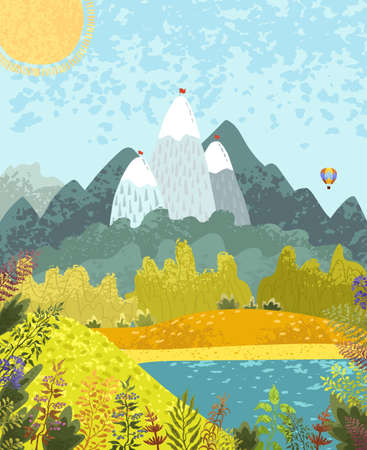 Vector colorful textured illustration of nature mountain landscape with a lake, hot air balloon and flowering plants. Use it as background for poster, postcard, brochure, card, banner, graphic design
