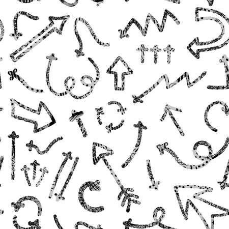 Vector seamless pattern with abstract illustrations of hand drawn arrows and direction pointers. Can be used for wallpaper, surface texture, textile print, wrapping paper, design presentation