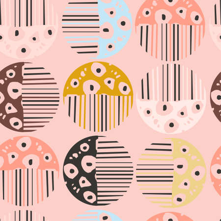 Seamless pattern with colorful hand drawn abstract round elements, doodles
