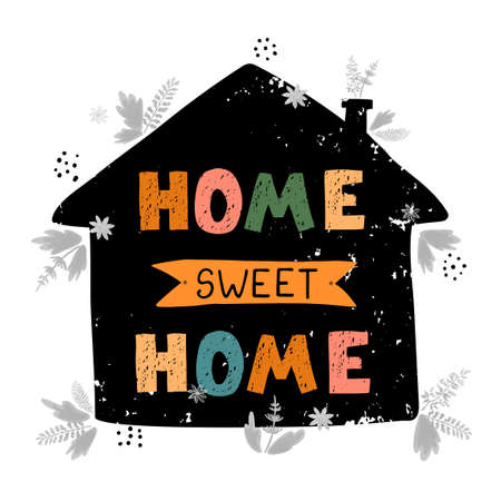 Home sweet Home - fun hand drawn poster with lettering Ilustração