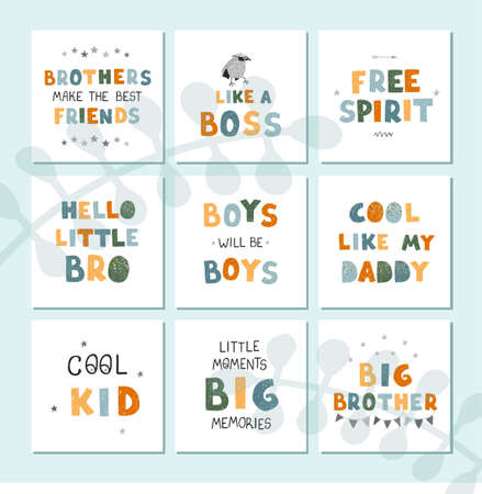 Vector set with fun hand drawn nursery posters with lettering for little boys