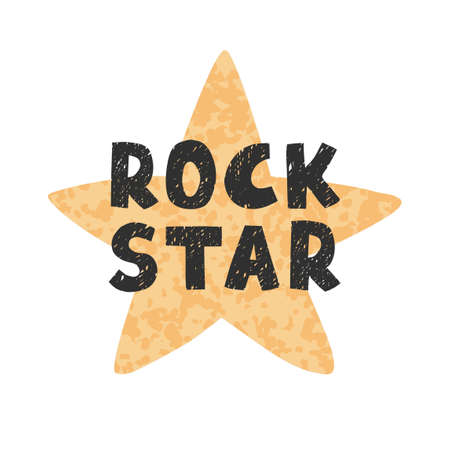Rock star - fun hand drawn nursery poster with lettering Ilustração