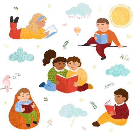 Colorful set of cute children read books 矢量图像