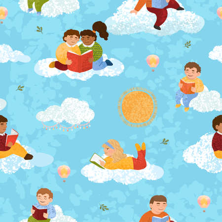 Seamless pattern with illustrations of cute children who read books