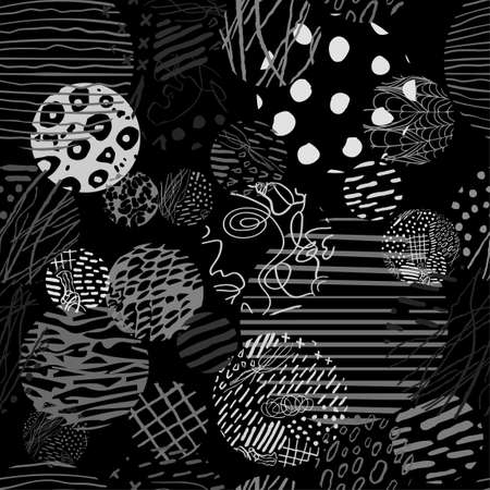 Black and white seamless pattern with hand drawn abstract round elements, doodles