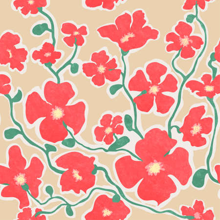 Seamless background with colorful illustrations of blooming flowers Ilustração