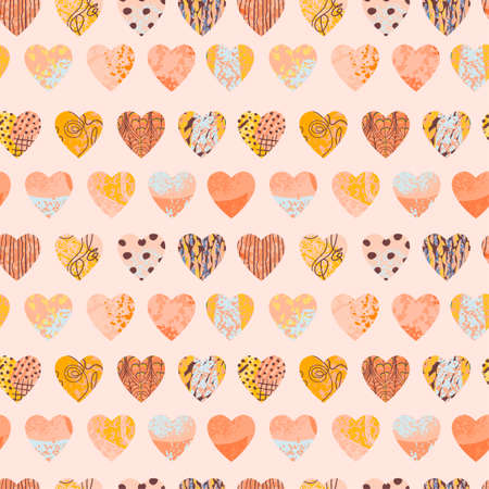 Seamless abstract background with colorful heart shape Ilustração
