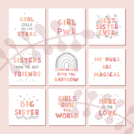 Vector set with fun hand drawn nursery posters with lettering for little girls