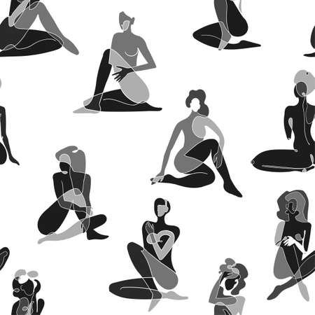 Seamless background with black and white illustration of silhouette women body