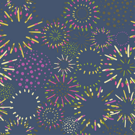 Seamless colorful background with fireworks on dark background 矢量图像